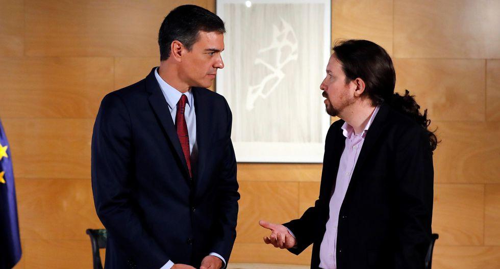 Mandatario español, Pedro Sánchez, y el líder político Pablo Iglesias. (Foto: EFE)