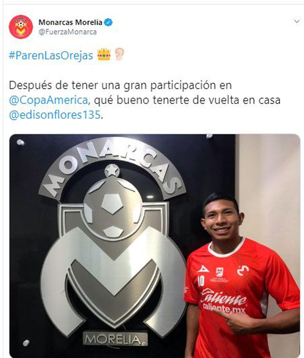 El saludo de bienvenida de Morelia a Edison Flores.