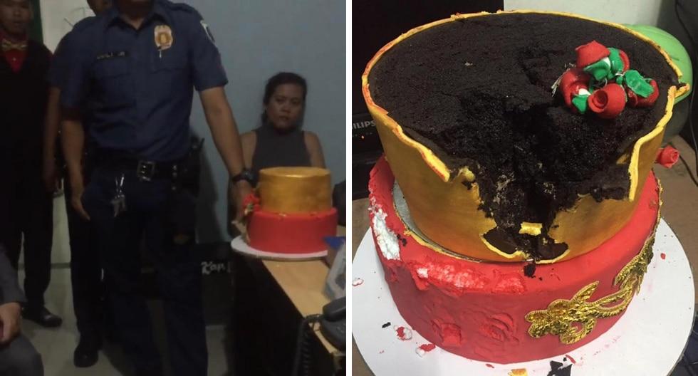 Una novia quedó devastada al descubrir que había sido estafada al cortar su pastel de bodas falso. (Fotos: Viral Press en YouTube)