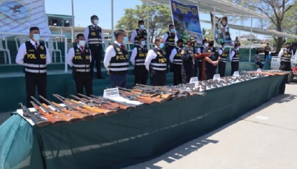 Piura:  115 armas de fuego, 67 municiones y 32 cacerinas fueron internadas en las instalaciones de la Sucamec. (Foto: PNP)