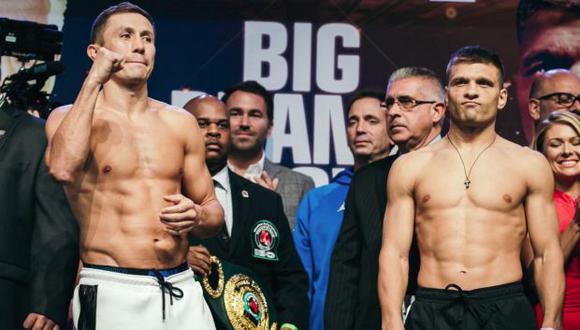 Gennady Golovkin y Sergiy Derevyanchenko se enfrentanpor el título vacante de los pesos medianos de la Federación Internacional de Boxeo (FIB). (Foto: Twitter @GGGBoxing)