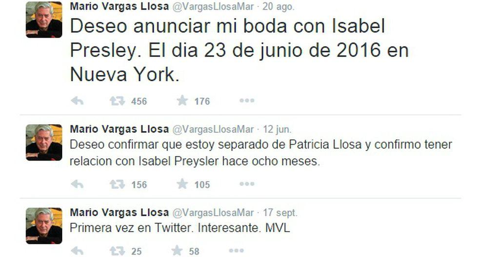 Esta cuenta de Mario Vargas Llosa en Twitter es totalmente falsa (Captura / Twitter)