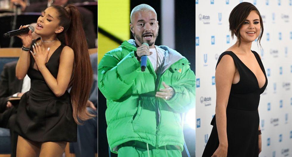 Ariana Grande, Selena Gomez y J Balvin juntos en un mismo proyecto musical. (Foto: AFP)