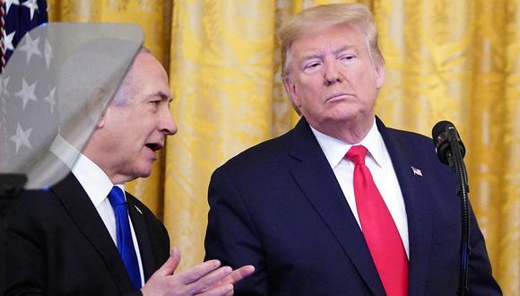 El presidente de los Estados Unidos, Donald Trump, y el primer ministro israelí, Benjamin Netanyahu, participaron en un anuncio del plan de paz de Trump para Oriente Medio en la Sala Este de la Casa Blanca en Washington, DC. (Foto: AFP)