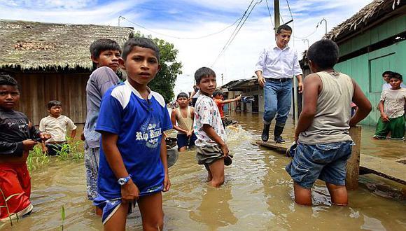 Humala estuvo la semana pasada en Iquitos, ciudad afectada por los desbordes. (USI)
