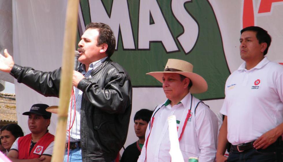Marco Arana y Jorge Rimacharín participaron en el cierre de campaña del MAS. (Difusión)