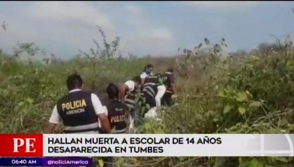 El cuerpo de una escolar de 14 años fue hallado después de una semana por unos agricultores. (Captura: América Noticias)