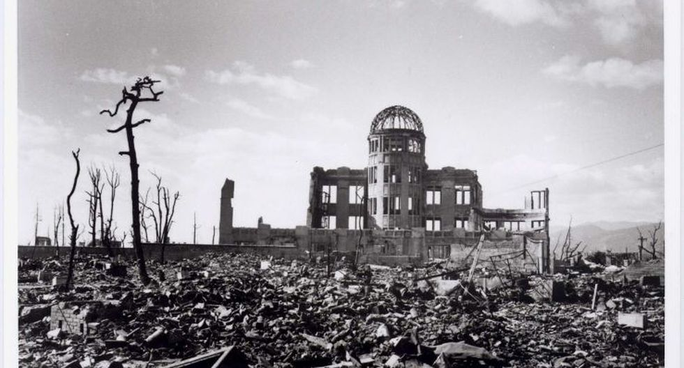 Este edificio se encontraba a 160 metros del epicentro de la explosión. Sus restos se conocen hoy en día como la Cúpula de la bomba atómica. (EFE)