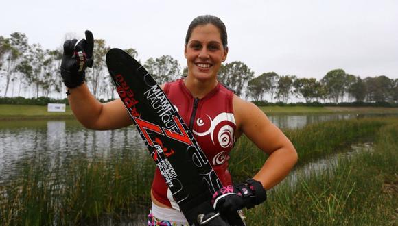 MAESTRA DE LAS AGUAS. Delfina Cuglievan confirmó su favoritismo en la laguna de Bujama. (Difusión)