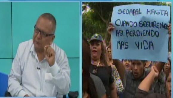 De acuerdo con el alcalde Jorge Marticorena Cuba los argumentos de Sedapal sobre la ausencia del servicio fue que el agua que se está racionando en el distrito para que lleguen a los veraneantes de Lima sur. (Foto: Captura Canal N)