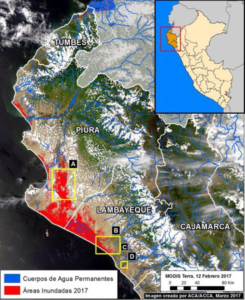Inundaciones en el norte peruano por el Niño Costero (MAAP)