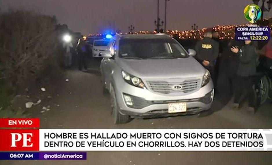 Agentes de la PNP hallan muerto a hombre con signos de tortura dentro de vehículo. (Captura: América Noticias)