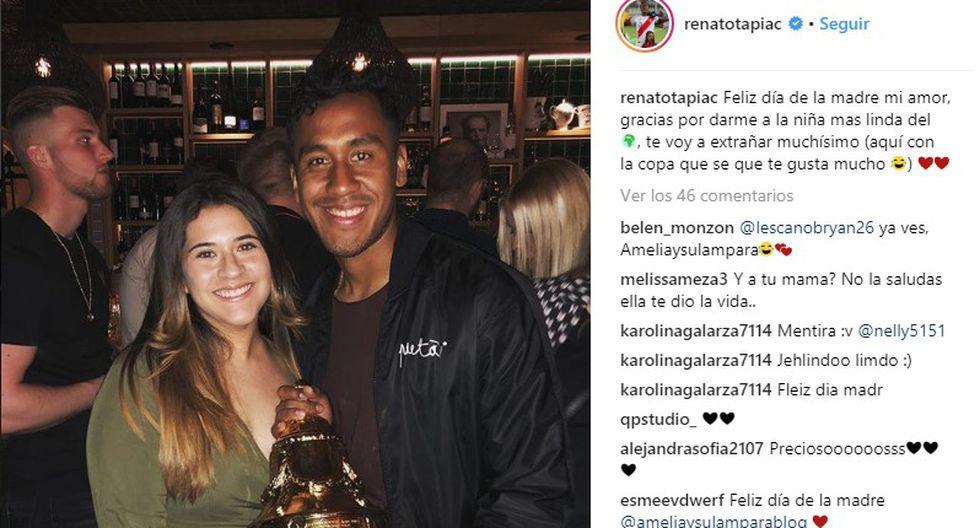 Renato Tapia se sumó a las celebraciones con un mensaje para su esposa.