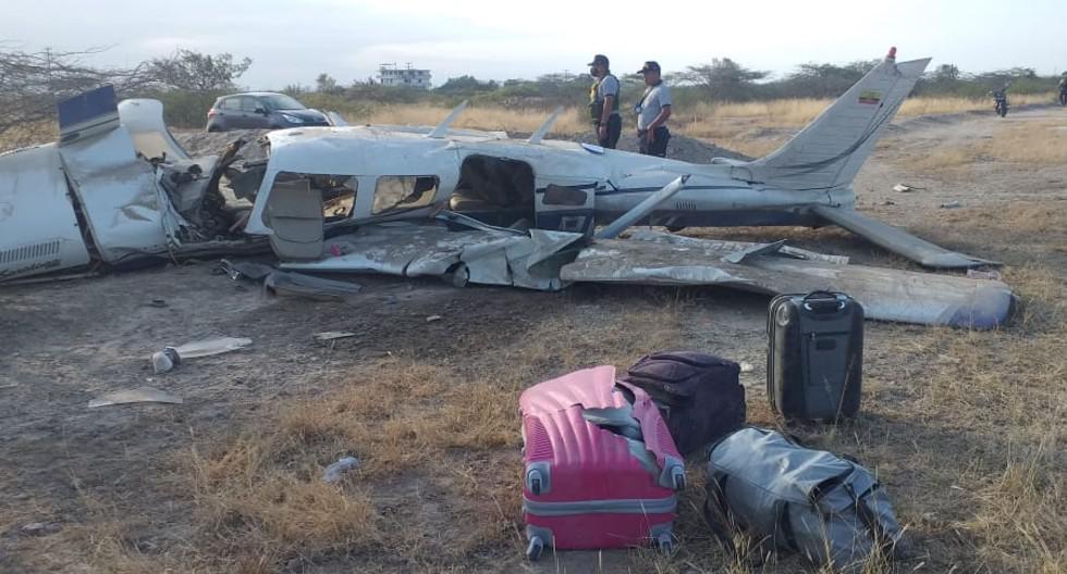 Tumbes: Al menos un muerto y tres heridos dejó caída de avioneta ecuatoriana en el centro poblado El Bendito de la provincia de Zarumilla. (Foto PNP)