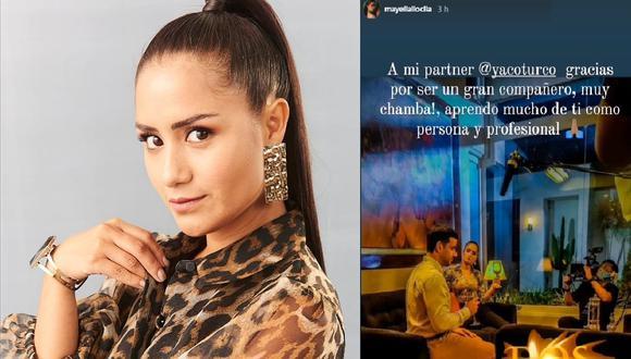 """""""A mi partner @yacoturco gracias por ser un gran compañero"""", escribió Mayella Lloclla. (Instagram @mayellalloclla)"""