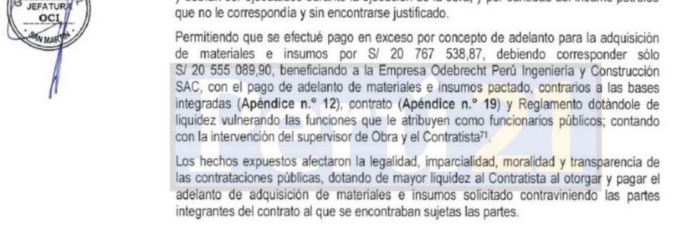 Conclusiones del informe de la OCI del gobierno regional de San Martín.