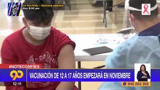 Coronavirus: Vacunación de 12 a 17 años iniciará en noviembre