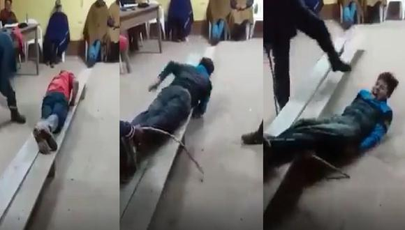 Cajamarca: Campesino y su hijo denuncian que policías de la comisaría de Llapa los golpearon y entregaron a ronderos para ser azotados solo por no usar mascarillas. (Captura Facebook)