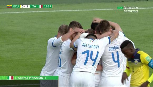 Andrea Pinamonti puso en ventaja a Italia sobre Ecuador, a los 21'. (Captura: DirecTV)