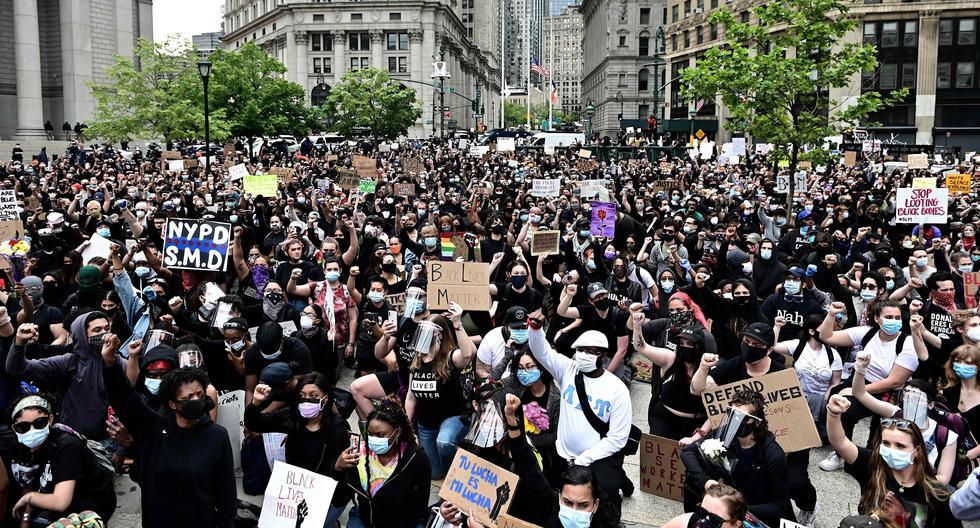 Una nueva jornada de protestas por la muerte de George Floyd inició en Nueva York. Foto: AFP / Johannes EISELE