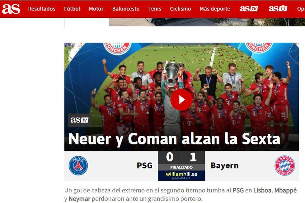 El diario AS de España resaltó la importancia de Coman y Neuer en el logro.
