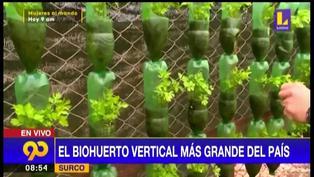 Conoce el biohuerto vertical más grande del Perú hecho con botellas recicladas