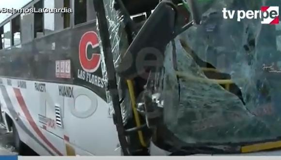 La ATU destacó que el accidente provocó que 10 personas resultaran heridas. (Foto: Captura de TV Perú Noticias)