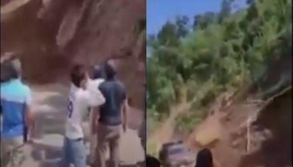 El conductor de la camioneta se cubre el rostro cuando empieza el deslizamiento de tierra y piedras. (Capturas Canal N)