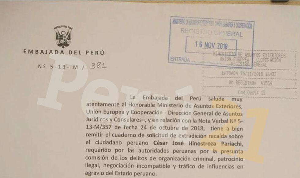 España recibió cuadernillo de extradición de César Hinostroza
