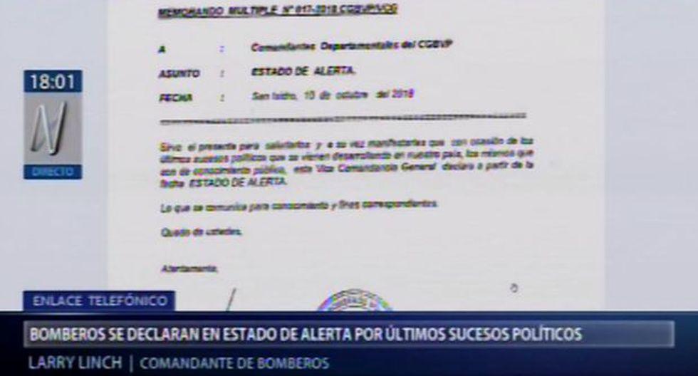 Bomberos declaran el estado de alerta debido a recientes acontecimientos políticos. (Canal N)