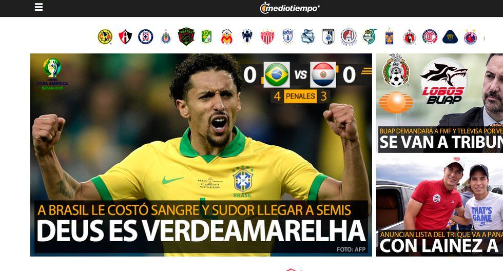 Así informó la prensa internacional la clasificación de Brasil y la tristeza de Paraguay. (Captura: Mediotiempo de México)