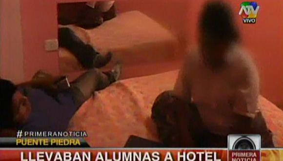 La Policía sorprendió a las menores en el hospedaje. (Captura de TV)