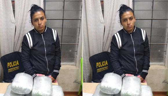 Mujer fue intervenida durante un operativo de control de identidad en la provincia de Sánchez Carrión. (Foto: PNP)
