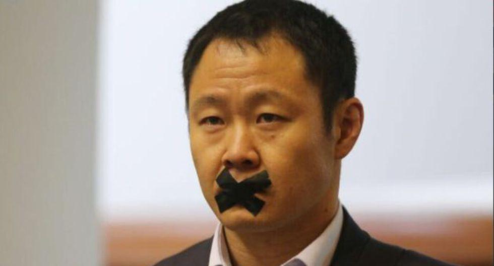 Kenji Fujimori es cuestionado por sus colegas de bancada por aparecer con esta cinta tapando su boca.