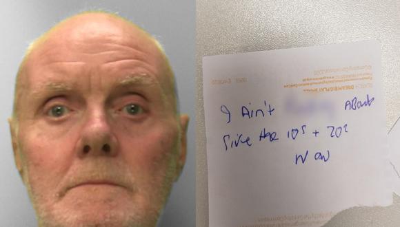 Alan Slattery fue condenado a 6 años por 1 robo y 2 intentos de asalto a bancos. (Foto: Sussex Police)