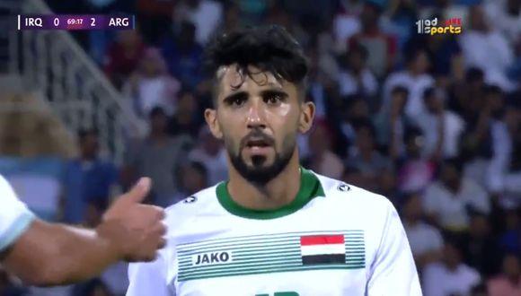 Irak vs Argentina: No le dijeron sobre el fallecimiento de su madre hasta casi el final del partido. (Captura/Twitter)