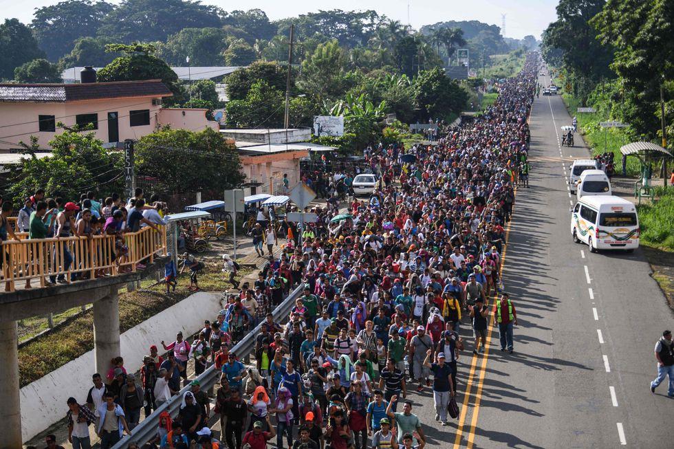 Ciudad de Hidalgo, México. Imagen de los migrantes hondureños que se dirigen en una caravana hacia los EE.UU. | Foto: AFP
