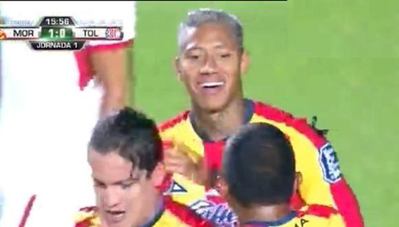 Ray Sandoval anotó el primer gol de Morelia en la Liga MX. (Captura: YouTube)