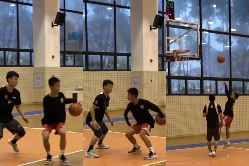 Un adolescente se convirtió en una sensación en las redes sociales por su habilidad para el baloncesto pese a tener un solo brazo. (Fotos: China Xinhua Sports en Facebook)
