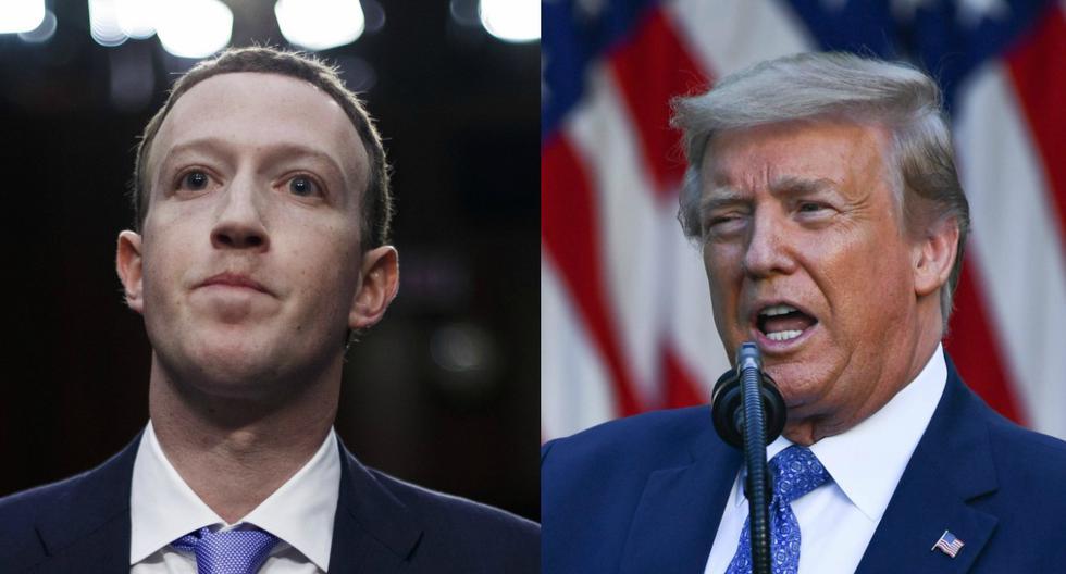 Varios empleados de Facebook han expresado su insatisfacción con su jefe este fin de semana y participaron en una huelga en línea el lunes. En la imagen,  Mark Zuckerberg y Donald Trump. (EFE/Shawn Thew - AFP / Brendan Smialowski).