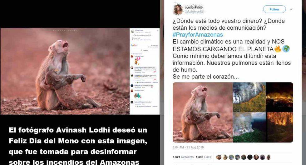 En redes sociales se están compartiendo imágenes sobre los incendios en la Amazonía que están desinformando. (Foto: Facebook / Twitter)