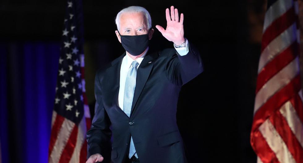 El presidente electo Joe Biden toma el escenario en el Chase Center para dirigirse a la nación el 7 de noviembre de 2020 en Wilmington, Delaware (Estados Unidos). (Drew Angerer/Getty Images/AFP).