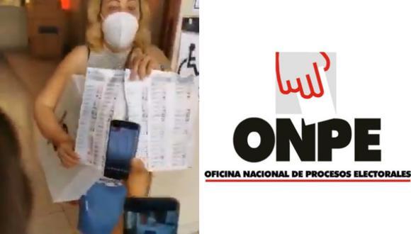 La ONPE se pronunció sobre denuncia propalada en redes sociales sobre ánfora con cédulas marcadas. Foto: composición