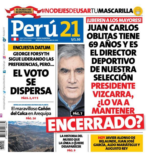 Juan Carlos Oblitas tiene 69 años y es el director deportivo de nuestra selección. Presidente Vizcarra,¿lo va a mantener encerrado?