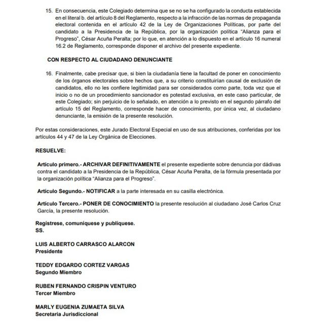 Resolución sobre César Acuña. (Foto: JEE Lima Centro 1)