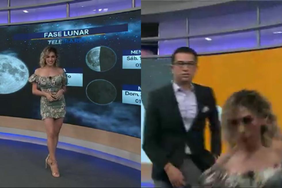 """Mira el video viral de la aparatosa caída de una """"chica del tiempo"""" en la televisión mexicana. (Fotos: Telediario Monterrey en Facebook)"""