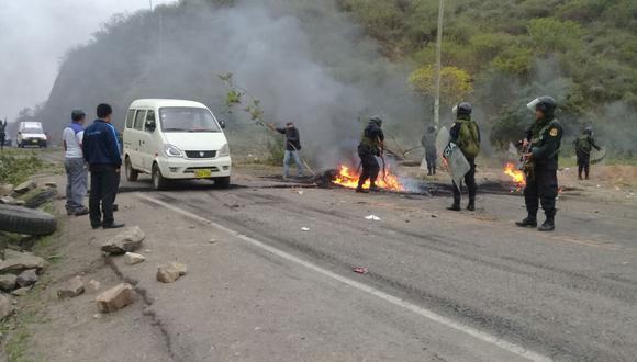 Las vías de acceso a Olmos fueron bloqueadas.
