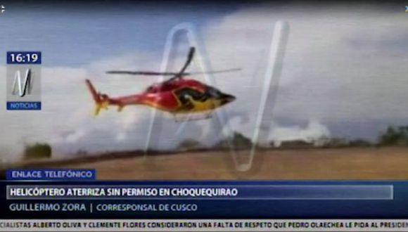 Un helicóptero de Heliamérica aterrizó en el sitio arqueológico de Choquequirao. (Canal N)