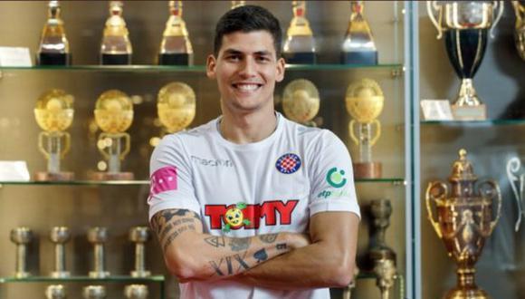 Bulos, quien jugó por Universitario, Cristal y Municipal en el Perú, busca protagonismo internacional para ganarse una convocatoria a la selección peruana. (@hajduk)|