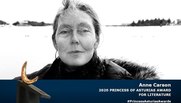 La escritora canadiense Anne Carson ganó el premio Princesa de Asturias. (Foto: Twitter)